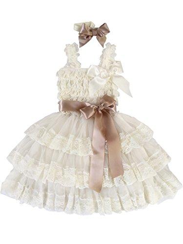 Rosy Kids Girl's Vintage Chic Flower Girl Lace Dress Flower Sash Hair Flower, Ivory Dress Light Gold Satin Belt, S