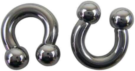 Steel Ball 2 Gauge Silver Horseshoe Earrings - Fashion Ear Plugs (1pc)