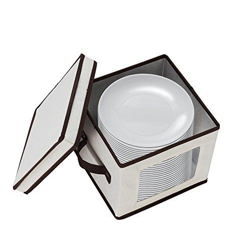 (7210 Villacera Salad Plate Storage Chest Holds Twelve 9in Plates Natural w Brown Trim)
