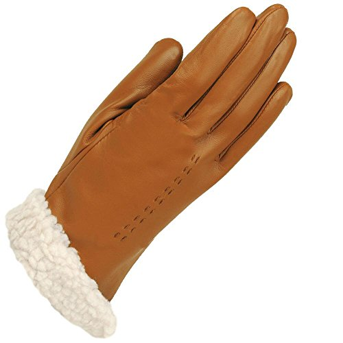 Tan Sherpa (Wilsons Leather Womens Nappa Sherpa Lined Leather Glove M British Tan)