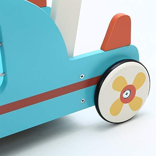 2-en-1 Utilisation comme Trotteur Enfant,Avion Bleu Trotteur Bois pour 1 an et Plus Coffre /à Jouet Mobile Trotteur B/éb/é Fille//Formes Chariot Bois//Trotteur Pousseur B/éb/é Gar/çon Labebe Chariot Enfant