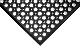 """Wearwell Natural Rubber 474 WorkRite Anti-Fatigue Mat, for Dry Areas, 3' Width x 5' Length x 1/2"""" Thickness, Black"""