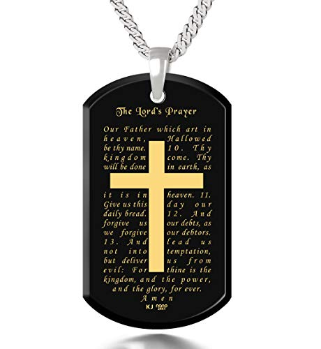 Mens Lord's Prayer Cross Necklace Onyx Dog Tag Pendant 24k Gold Inscribed, 20