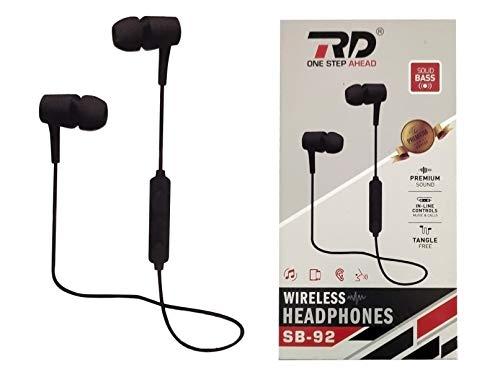 RD Wireless Bluetooth Headset with Mic   Premium Sound Bass   Black