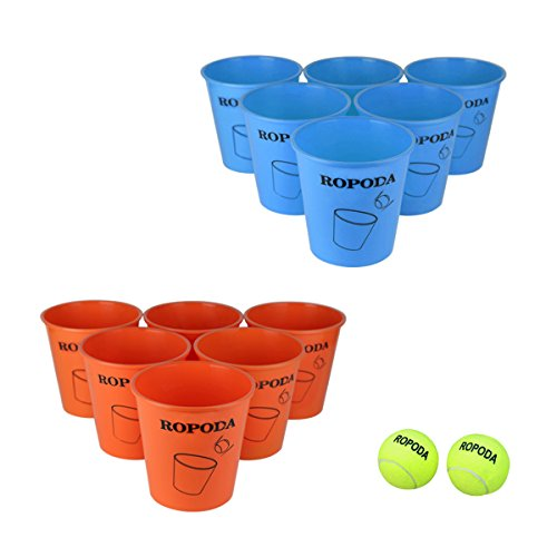 Giant Pong Game Set Outdoor for The Beach, Camping, Tailgating, Lawn and Backyard( 12 Buckets, 2 Game Balls - Camping What Do Take You