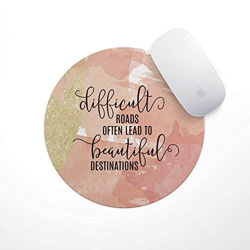 Quote Mouse Pad - Neoprene Inspirational Difficult Roads Lead to Mousepad, Office Space Decor, Home Office, Computer Accessories