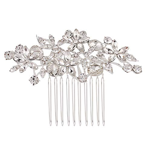 (Wedding Hair Comb, Silver Rhinestone Floral Hair Comb, Fashion Crystal Bridal Hair Comb for Bridal and Bridesmaids (Silver))