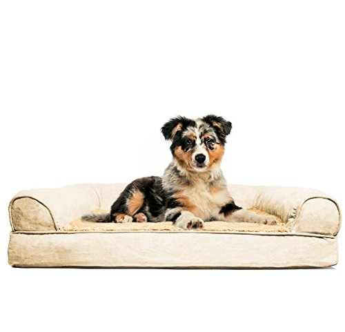 FurHaven Medium Plush & Suede Orthopedic Sofa...