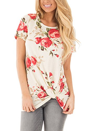 Dokotoo Womens Summer Casual Short Sleeve Floral Knot