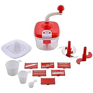 Kiwilon 10 in 1 Manual Food Processor for Kitchen (Dough Maker, Chipser, Blender, Slicer, Shredder, Juicer, Vegetable…