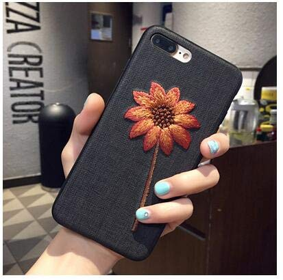 Twinlight Handmade Embroidery Case for iPhone X XR XS Max Case 3D Vintage Flower Leaves Fabric Soft Cover for iPhone 7 8 Plus (Style 2, for iPhone Xs Max)