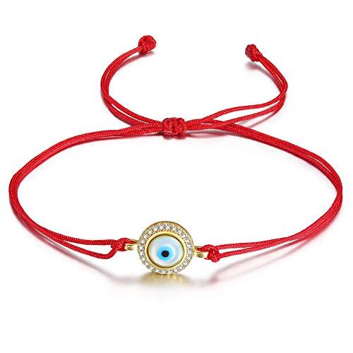 JINBAOYING Hamsa Evil Eye Bracelet with Cubic Zirconia String Kabbalah Adjustable Bracelet Handmade Charm Bracelets for Women Men Girls Boys (New Evil Eye Bracelet (Red 1)) - Evil Eye String Bracelets