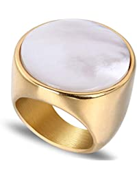 Womens Rings Gold Plated Stainless Steel Round Cut Shell Ring