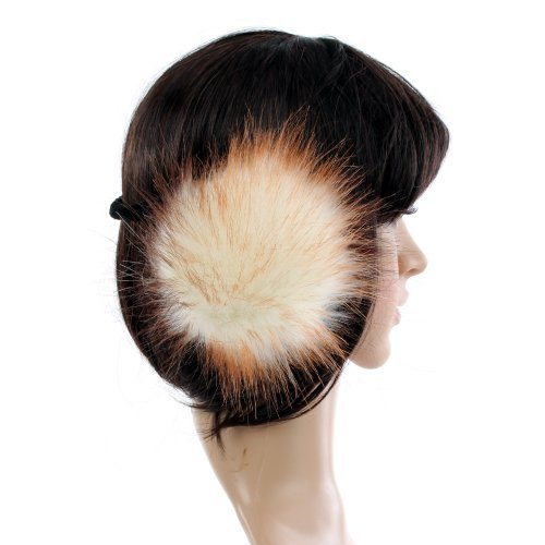 Accessoryo Women's Oversized Faux Fur Celebrity Style Winter Thermal Fashion Earmuffs in and Chestnut One Size White and Chesnut