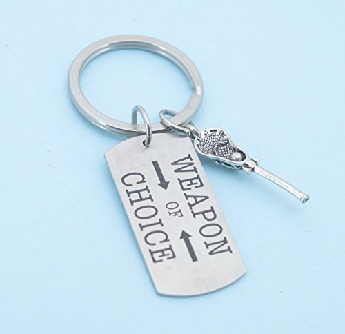 ring with lacrosse stick in silver pewter on stainless steel key ring. Gift for Teen Girl or Teen Boy. Lacrosse player. (Boy Key Ring)