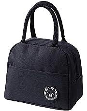 ZoneYan Lunch tas geïsoleerde tas, kleine opvouwbare koeltas voor werk school, picknick handtas voor vrouwen, volwassenen, studenten en kinderen (zwart)