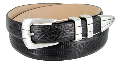 Vince Italian Calfskin Leather Designer Golf Dress Belt for Men (48, Lizard Black)