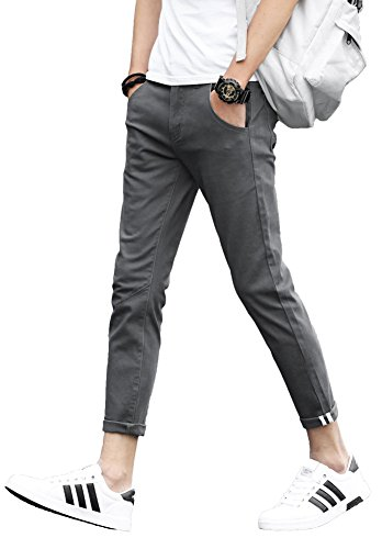Stretch Plaid Pants - Plaid&Plain Men's Slim Fit Stretch Casual Grey Pants Cropped Chinos Flood Pants Grey 31