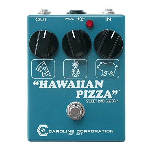 Caroline Hawaiian Pizza Fuzz Overdrive, Limited Edition Reverse Colors Blue/White (Best Fuzz Pedal For Blues)