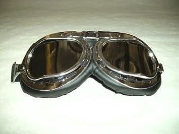 Gafas para motero - Tipo gafas de piloto - Lentes de plástico cromado: Amazon.es: Coche y moto