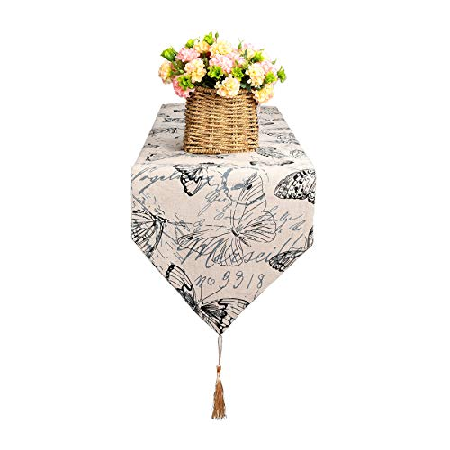 Bettery Home Cotton Linen Vintage Printed Table Runner with Tassel for Kitchen Dining Room Decor, 12 x 70 Inches ()