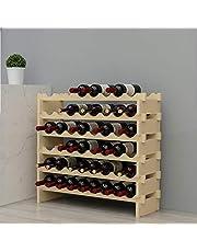 SogesPower 4-Tier/6-Tier Wine Rack Wood Wine Display Rack, Free Standing Wine Storage Shelf