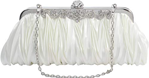 Satin Bridal Handbag - Elf of Bolsas - Evening Handbag Classic Satin Detachable Strap Ivory Clutch