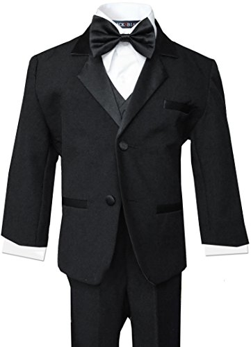 Tuxed in Black Complete Outfit for Little Boys (7, Black) Complete Black Tuxedo