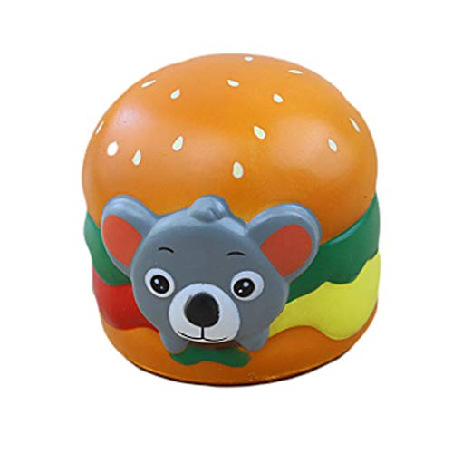 (Naiflowers Squeeze Toys, Koala Hamburger Slow Rising Toy Kawaii Toys, Mochi Squishy Soft Stress Relief Toys hop Props Sensory Toy Party Favors for Kids Toddler Adults (Gray))