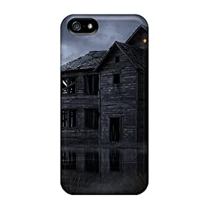 Hard Plastic Iphone 5/5s Case Back Cover,hot Dark Spooky House On The Water Case At Perfect Diy