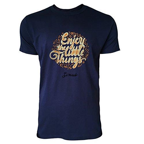 SINUS ART® Enjoy The Little Things Herren T-Shirts in Navy Blau Fun Shirt mit tollen Aufdruck