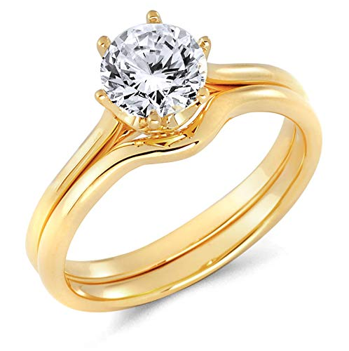 Cathedral Solitaire Six Setting Prong - Wellingsale Ladies 14K Yellow Gold Round 6 Prong CZ Cubic Zirconia Cathedral Solitaire Engagement Ring + Wedding Band Bridal Set - Size 4