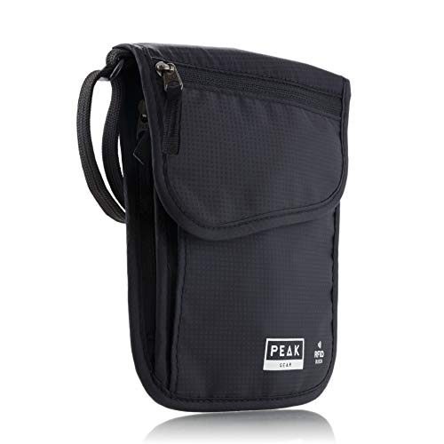 Peak Gear RFID Neck Wallet - Includes Theft Insurance and Global Lost & Found Service