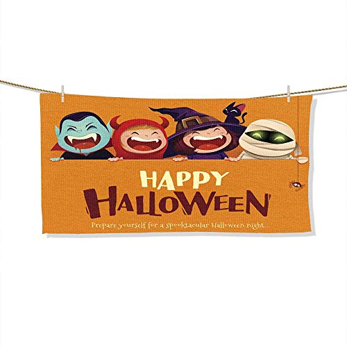 FootMarkhome Microfiber Beach Towel Happy Halloween Party Group
