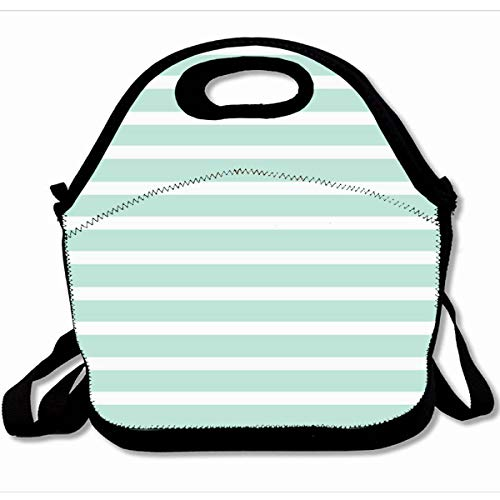 (Ahawoso Reusable Insulated Lunch Tote Bag Stripes Seersucker Mint Green White Striped Lines Beautiful Stripe 10X11 Zippered Neoprene School Picnic Gourmet Lunchbox)