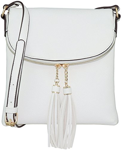 B BRENTANO Vegan Medium Flap-Over Crossbody Handbag with Tassel (Small Flap Body Bag)