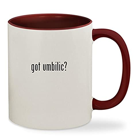got umbilic? - 11oz Colored Inside & Handle Sturdy Ceramic Coffee Cup Mug, Maroon (Umbilical Bands Or Straps)