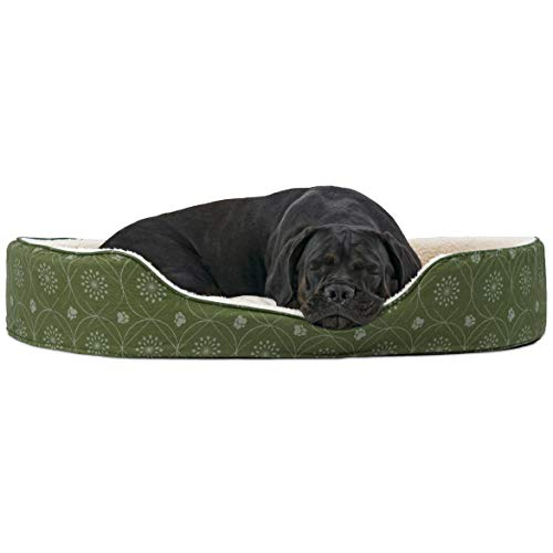FurHaven Pet Dog Bed | Print Flannel Oval Pet Bed for Dogs & Cats, Jade Green, Jumbo