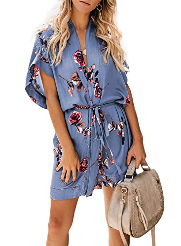ZKESS Womens Summer Casual V Neck Floral Print Kimono Boho Dress Multi-4 ()