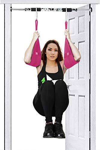 1UP Hanging AB Straps Fitness, Core Pull Up Strap Body Workout (Pink)