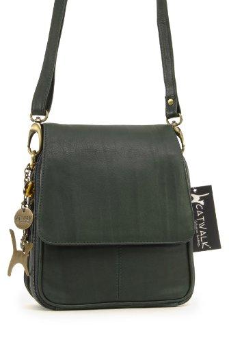 Collection Catwalk Green Dark Catwalk Teagan Bag Leather Messenger Organiser Collection 1xEq4Px