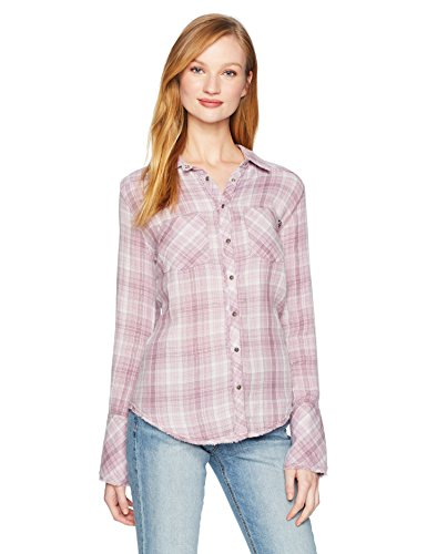 (William Rast Women's Mercer Slim Fit Shirt, Violet ice fine Lurex Tartan Plaid, Small)