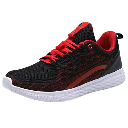 Mens Running Shoes,Sharemen Men's Casual Comfortable Breathable Board Shoes Athletic Sneakers Shoes(Red,US: 8.5)