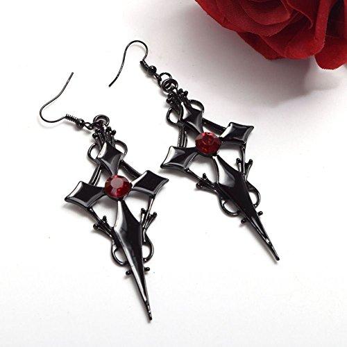 UltraSunday Women's Gothic Punk Style Cross Pattern Earring Metal Red Rhinestone Ear Pendant ()