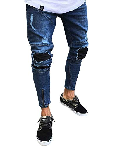 Pantaloni Uomo Da Chiusura Su Moderna Strappati In Dunkelblau Jeans Skinny Casual Denim Chel Stretch Vintage Con Haidean dFTn4xd