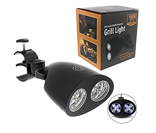 Yukon Glory Super Bright BBQ LED Light for Best Night Grilling. Powerful LED Bulbs Illuminate up to 10,000 Hours. Battery Operated, Fully Adjustable 180°, Easy Installation onto Grill Handles of All Sizes. Heat-Resistant, Soft Touch On/Off Button. Free B by Yukon Glory