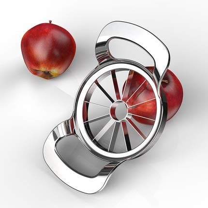Stainless Steel Apple Slicer Corer Cutter Divider, 12 Blades Food Grade 304, Extra Large Heavy Duty Apple Slicer up to 4 Inch Apples]()
