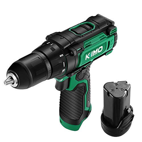 """KIMO 12V Cordless Drill/Driver w/ Rechargeable Battery, 18+1 Clutch, 3/8"""", Keyless Chuck, Variable Speed, 280 In-lb Torque, Built-in LED"""
