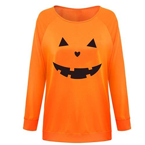 Csbks Jack O' Lantern Pumpkin Face Ladies' T-Shirt Halloween Costume Fun Sweatshirt C-Orange -