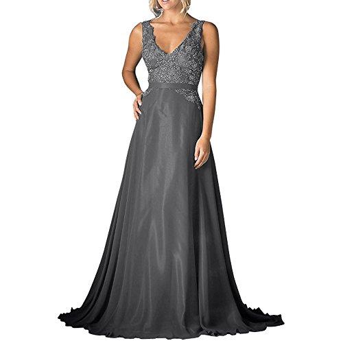 Langes Ausschnitt Ballkleider A Grau La Spitze mia Chiffon Festlichkleider Abendkleider Linie Brau Rock Pailletten V Brautmutterkleider zwqEBwUg